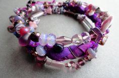 Sari Silk Bangles  Beaded bracelets  BLACK by BeadSoupJewelry, $29.00
