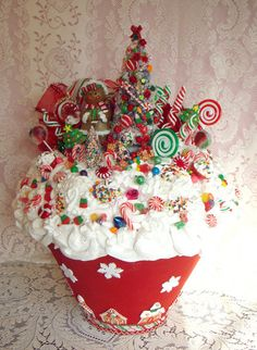 GIANT 2 foot Faux CUPCAKE Christmas Candy Centerpiece. $285.00, via Etsy.