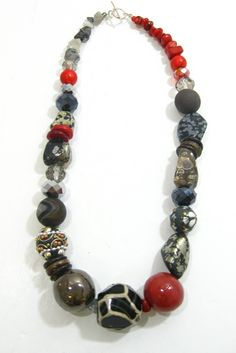 Black and Red Ceramic and Stone Necklace