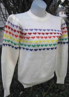 rainbow heart sweaters!