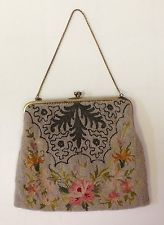 Antique Micro Beaded Floral Petit Point Evening Bag Hand Made in FRANCE