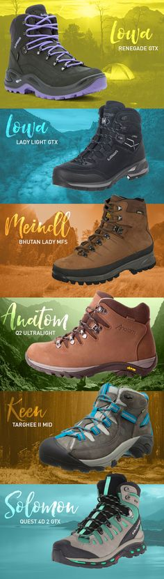 Best Hiking Boots for Women: 12 Pairs for Female Feet in 2019 Find out what to look for in a great with our guide to the best Hiking boots for women in Step up to the challenge and get ready for the hiking season now! Best Hiking Boots, Hiking Boots Women, Hiking Shoes, Hiking Outfits, Jogging Outfit, Hiking Tips, Hiking Gear, Camping Gear, Backpacking Gear