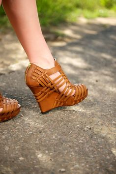 Bombshell Shoe of the Day! Givenchy brown woven wedges.