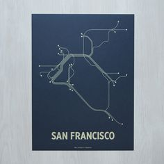 A graphic interpretation of San Francisco's mass transit systems. Original artwork based on the BART, Muni and CalTrain lines.Standard size for easy and affordable framing. Available as a black & white lithograph or color screen print. Made in Brooklyn, NY. PLEASE NOTE: The butcher orange print is made using a textured paper and is not solid orange. Orders typically process in 1-3 business days. Those with finishing options may take 5-7 business days.