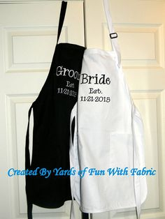 BRIDE AND GROOM Aprons/Shower/Wedding by YardsofFunWithFabric