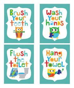 {Teal Owl Bathroom Print} Cute set from Ellen Crimi-Trent for the bathroom...
