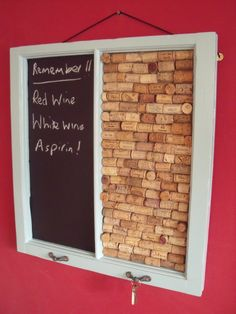 Cork & Chalk Board made from a recycled sash window frame. No excuses for losing or forgetting anything now!