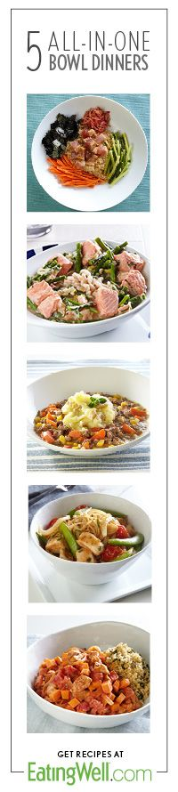 Get 5 weeknights covered with these easy dinner ideas from the March/April 2014 issue of EatingWell magazine.