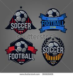 set of logos, emblems on the theme of soccer, football icons, Printing on T-shirts. football logo. soccer logo. team logo. league logo. icon logo. ball logo