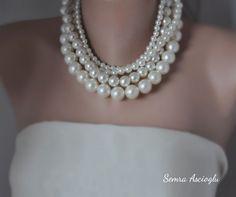 gioielli di nozze grassetto 4 fili avorio perla choker Perla Color Avorio 47c4aeb26958