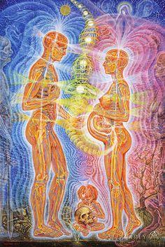 Alex Grey artwork- I love how he represents energies, so beautiful Psychedelic Art, Art Gris, Alex Gray Art, Art Visionnaire, Pregnancy Art, Psy Art, Mystique, Visionary Art, Sacred Art
