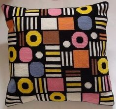 "I love English Liquorice Allsorts. this is a kit for ""counted tapestry"" cushion at Folksy. Inspiration for tapestry crochet. Needlepoint Pillows, Needlepoint Patterns, Knitting Patterns, Crochet Patterns, Cross Stitch Pillow, Cross Stitch Embroidery, Machine Embroidery, Crochet Cushions, Tapestry Crochet"