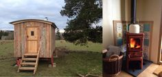 Shepherd's hut with red Hobbit stove on stand. Really cute on both counts, with the old paint left on the siding!