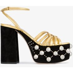 41af0372a89 Miu Miu Gold   Black Suede Pearl 125 Platform Sandals (£755) ❤ liked on Polyvore  featuring shoes