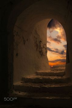 Sunset at the Venetian castle, Milos, Greece