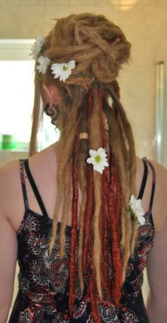 Wedding dreads - half up with flowers and color.