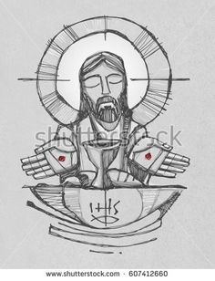 Hand drawn illustration or drawing of Jesus Christ with wine, bread and open hands