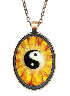 Yin Yang Balance Blossom Huge 30x40mm Amulet Talisman Antique Copper Pendant with Chain Necklace >>> Read more  at the image link.