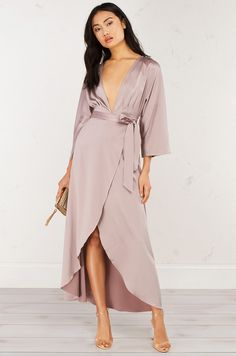 front view Long Deep V Satin Wrap Dress in Pinot