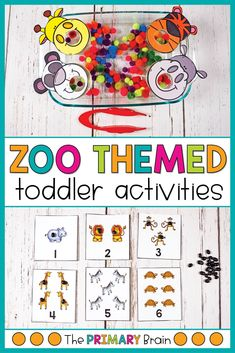 Sensory bins for toddlers are excellent for learning through play in the toddler years. These zoo toddler sensory bins are filled with small materials, zoo animals, and learning opportunities. These toddler sensory bins are perfect for the 2 to 3 year old child. Zoo letter naming and counting activities are included. Zoo Animal Activities, Gross Motor Activities, Counting Activities, Toddler Learning Activities, Language Activities, Preschool Activities, 3 Year Old Preschool, Zoo Preschool, Activities For One Year Olds