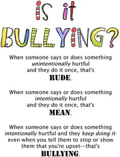 I have this issue every year in my class. I hate how people throw around the word bullying. Bullying is a huge claim in school. For all those parents out there here's Rude vs. Classroom Behavior, School Classroom, Behaviour Management, Classroom Management, Stress Management, Freetime Activities, School Social Work, Middle School Counseling, School Counselor Lessons