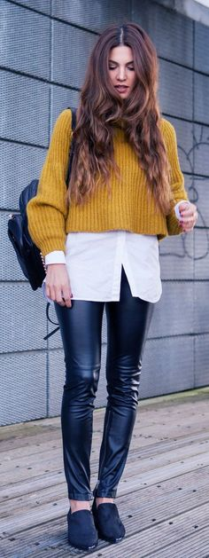 Mustard Crop Knit Jersey                                                                             Source
