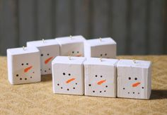 5 Wood Snowman Block Christmas Ornaments-Christmas-GFT Woodcraft