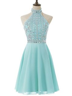 Solovedress Women's Sexy Backless Chiffon Halter Short Beaded Prom Dress 2017 Evening Gown (Light Blue,US2)