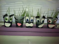 grass heads i made with my class! so the kids could plant grass, water it, and watch it grow!   - Maybe use for primary activity
