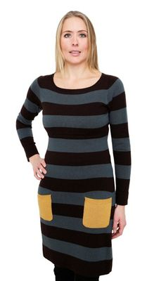 Liv Stripe Woollen Breastfeeding Dress Stripe Coffee/Jade/Gold