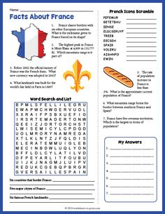 Geography Worksheets for Kids Free Printable Facts About France Geography Worksheet French Worksheets, Worksheets For Kids, Printable Worksheets, Activities For Kids, Place Value Worksheets, Learning Activities, Free Printables, France Geography, Brazil Geography