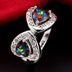 Double Heart Rainbow Topaz Silver Plated Ring Various Sizes