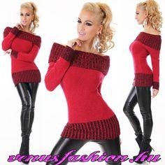 c6e2df0c5f Divatos csónaknyakú piros kötött női pulóver - Venus fashion női ruha  webáruház Ujjatlan Kesztű, Gazda