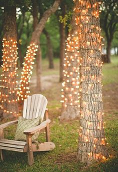 Wrapped Trees | Outdoor Lights | String Lights | Patio Lighting | Globe Bulbs | Backyard Ideas - These would lovely at an evening, outdoor wedding reception!