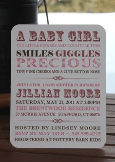 Custom Personalized Vintage Typography - Baby Girl Shower Invitations - Set of 50. $37.50, via Etsy.