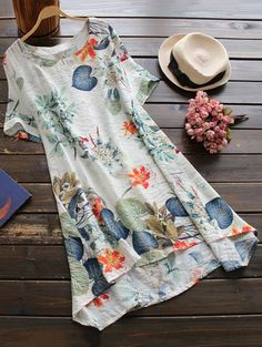 $22.49 Printed Cotton Shift Dress - OFF WHITE ONE SIZE