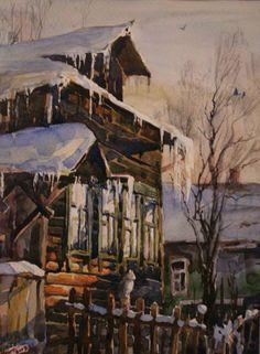 Little House on Pushkinskaya Street in Dmitrov by Russian artist, Stepan Nesterchuk (1978)