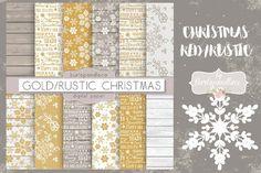 Christmas gold rustic digital paper pack by burlapandlace
