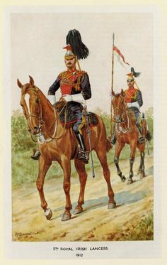 """Royal Irish lancers, officer and private in full dress, from """"Richard Simkin's Uniforms of the British army"""" by W. British Army Uniform, British Uniforms, Military Art, Military History, British Armed Forces, Army & Navy, American Civil War, Horse Art, British History"""