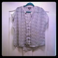 Designer Hale' Bob Sheer White & Navy Heart Blouse Like new - only worn 1x before weight gain. True to size! Hale Bob Tops Blouses