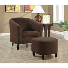 @Overstock.com - Chocolate Brown Accent Chair and Ottoman - Offering luxury and comfort, this beautiful chocolate brown club chair and ottoman set has a warm, inviting look. Upholstered in sumptuous microfiber and featuring solid wood construction, it features exceptional style that's meant to last.  http://www.overstock.com/Home-Garden/Chocolate-Brown-Accent-Chair-and-Ottoman/6212381/product.html?CID=214117 $233.30