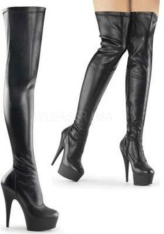 6 inch Heel, 1 inch PF Thigh High Boot, Side Zip 6 inch Stiletto Heel, 1 inch Platform Stretch Thigh High Boot with Full-Length Inside Zip Closure Vegan Style Women's Sizing Size Range: Platform High Heels, Platform Boots, High Heel Boots, Heeled Boots, Black Platform, Tall Boots, Stilettos, Pumps, Stiletto Heels