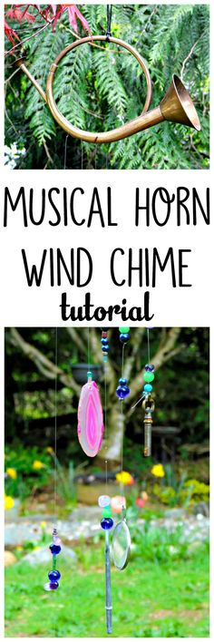 Make a funky musical horn wind chime with an old horn, beads, and recycled materials like antique keys and geode slices. Makes a great conversation piece.
