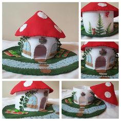 Red Mushroom House Playscape Play Mat Felt Wool Gnome Smurf Woodland Forest Fungi Woods Child Dollhouse Miniature Animal Doll Fairy Home Hut by MyBigWorld2015 on Etsy