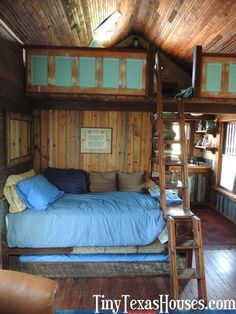 In addition to a pint-sized bedroom, some Tiny Texas Houses also include a sleeping loft for children or overnight guests. Little Cabin, Little Houses, Tiny House Living, Home And Living, Tiny Texas Houses, Casa Loft, Cabins And Cottages, Tiny Spaces, Tiny House Plans