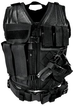 black military tactical bullet proof vest