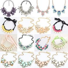 Fashion Crystal Necklace Jewelry Statement Bib Pendant Charm Chain Choker Chunky