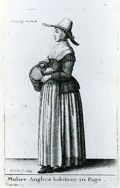 Early 17th Century Hollar etching of an English Country Woman. Looking at other Hollar etchings of 17th century style, the higher the class the more fashionable the clothing. Provincial and lower classes clothing reflect style conventions of an earlier time.