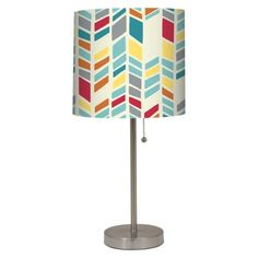 Stick Lamp with Chevron Patterned Shade