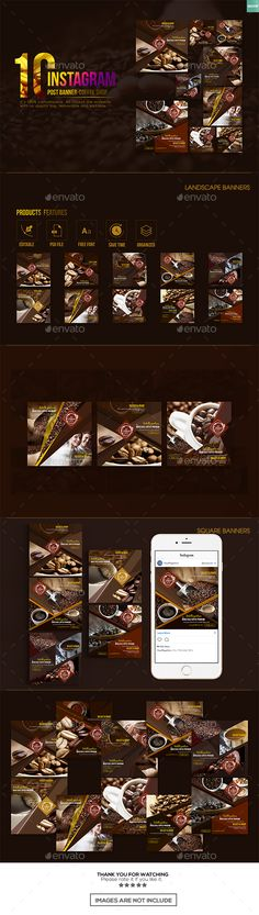 10 Instagram Post Banner - Coffee Shop - Banners & Ads Web Elements